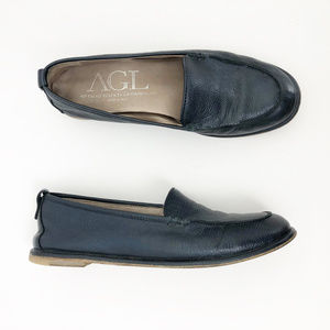 AGL Navy Italian Leather Moc Toe Loafer, size 8.5